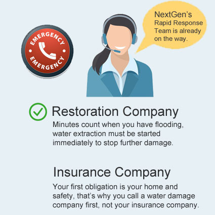 Call insurance or restoration company first